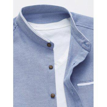 Stand Collar Selvedge Design Long Sleeve Shirt - CADETBLUE XL