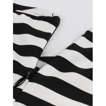 Midi Striped Formal Skater Cocktail Dress - BLACK 4XL
