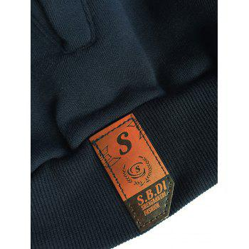 Long Sleeve Elbow Patch Drawstring Pullover Hoodie - DEEP BLUE M