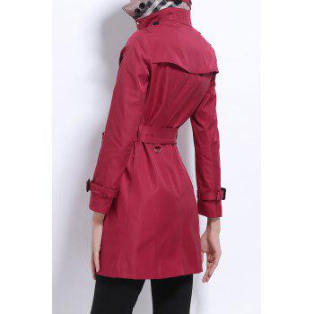 Lapel Cotton Trench Coat - DEEP RED L