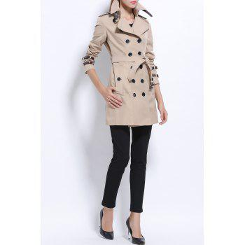 Double Breasted Cotton Trench Coat - LIGHT KHAKI S