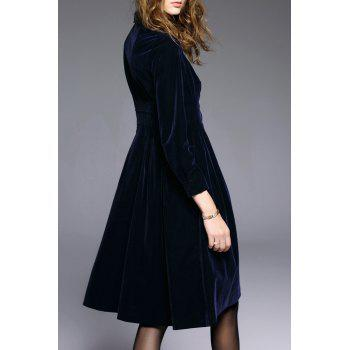 Button Fly Flare Velvet Dress - PURPLISH BLUE XL