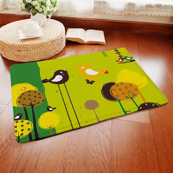 Short Plush Anti-slip Absorbent Cartoon Birds Pattern Doormat Carpet - COLORMIX
