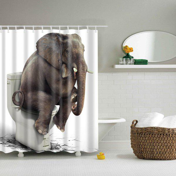 Elephant On Closestool Bathroom Waterproof Mouldproof Shower Curtain - COLORMIX L