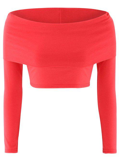 Off-The-épaule Stretchy Crop Top - Rouge XL