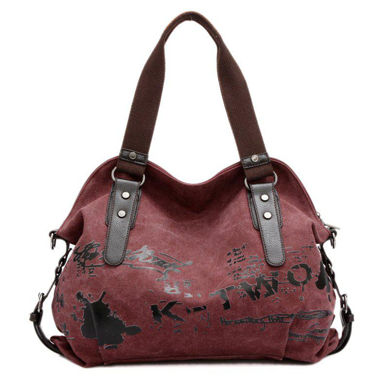 Letter Printed Buckles Colour Block Shoulder Bag - CLARET VIOLET