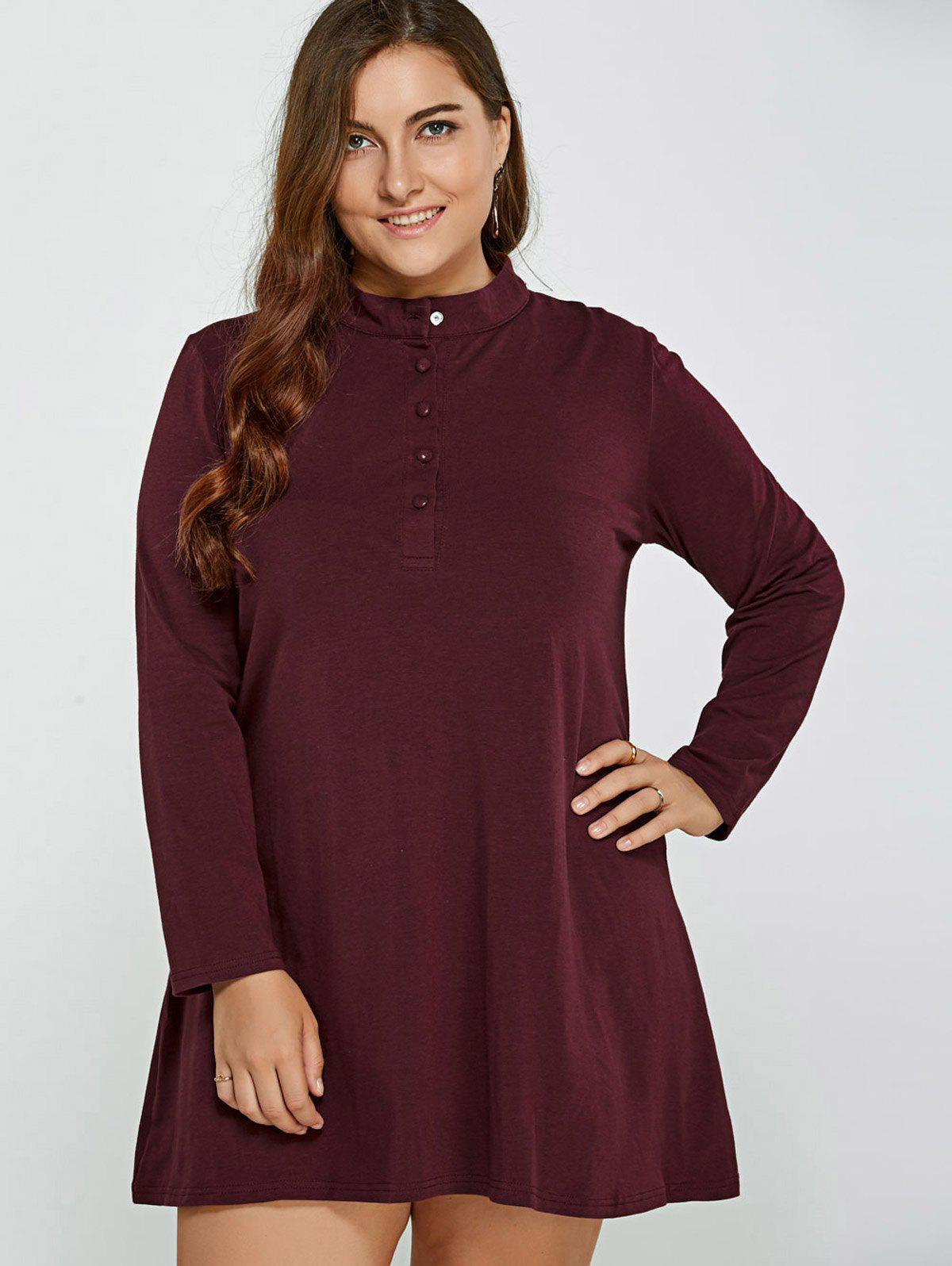 Long Sleeve Plus Size Dress - Rouge vineux 3XL