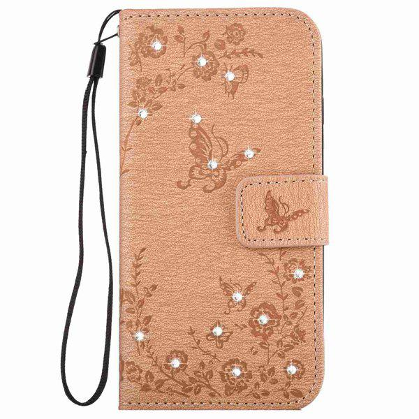 Butterfly Rhinestone Pattern Wallet Phone Case For iPhone 6S Plus - KHAKI