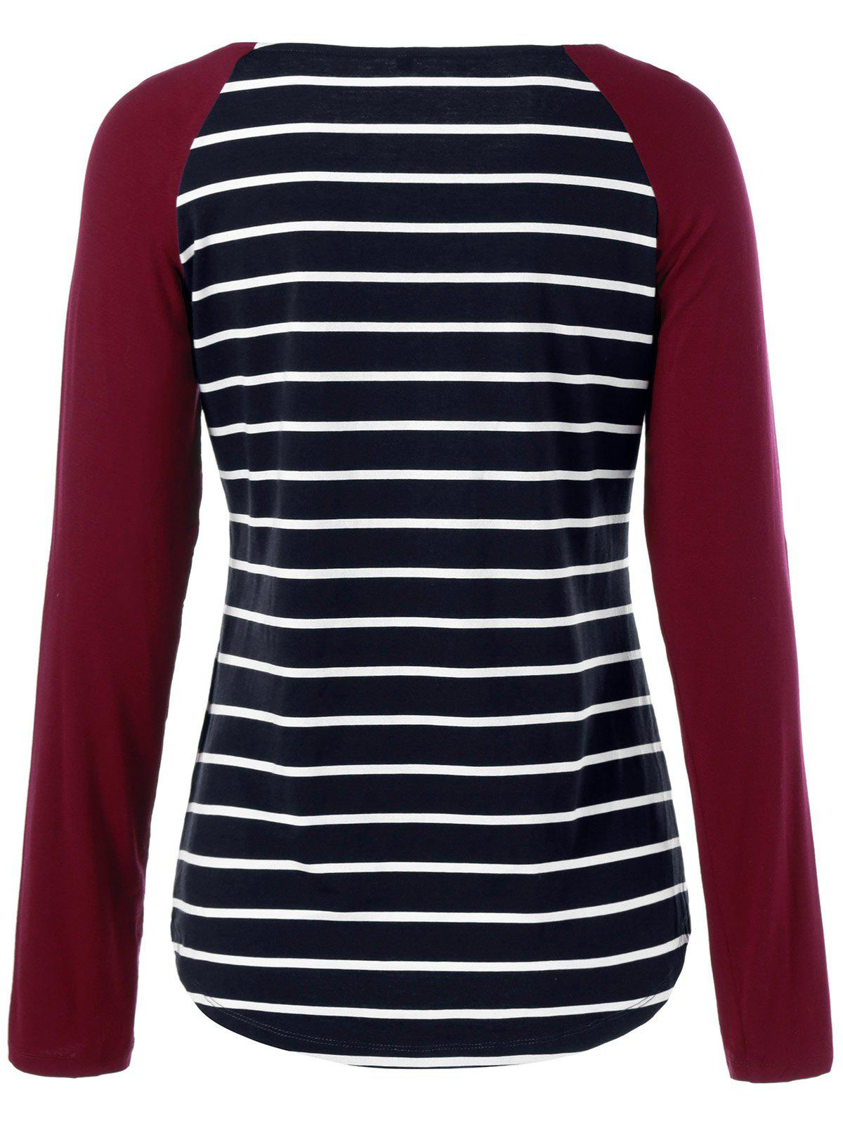 Raglan Sleeve Striped Comfy T-Shirt - STRIPE XL