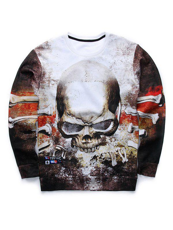 Terrible Skull 3D Print Crew Neck Sweatshirt - COLORMIX M