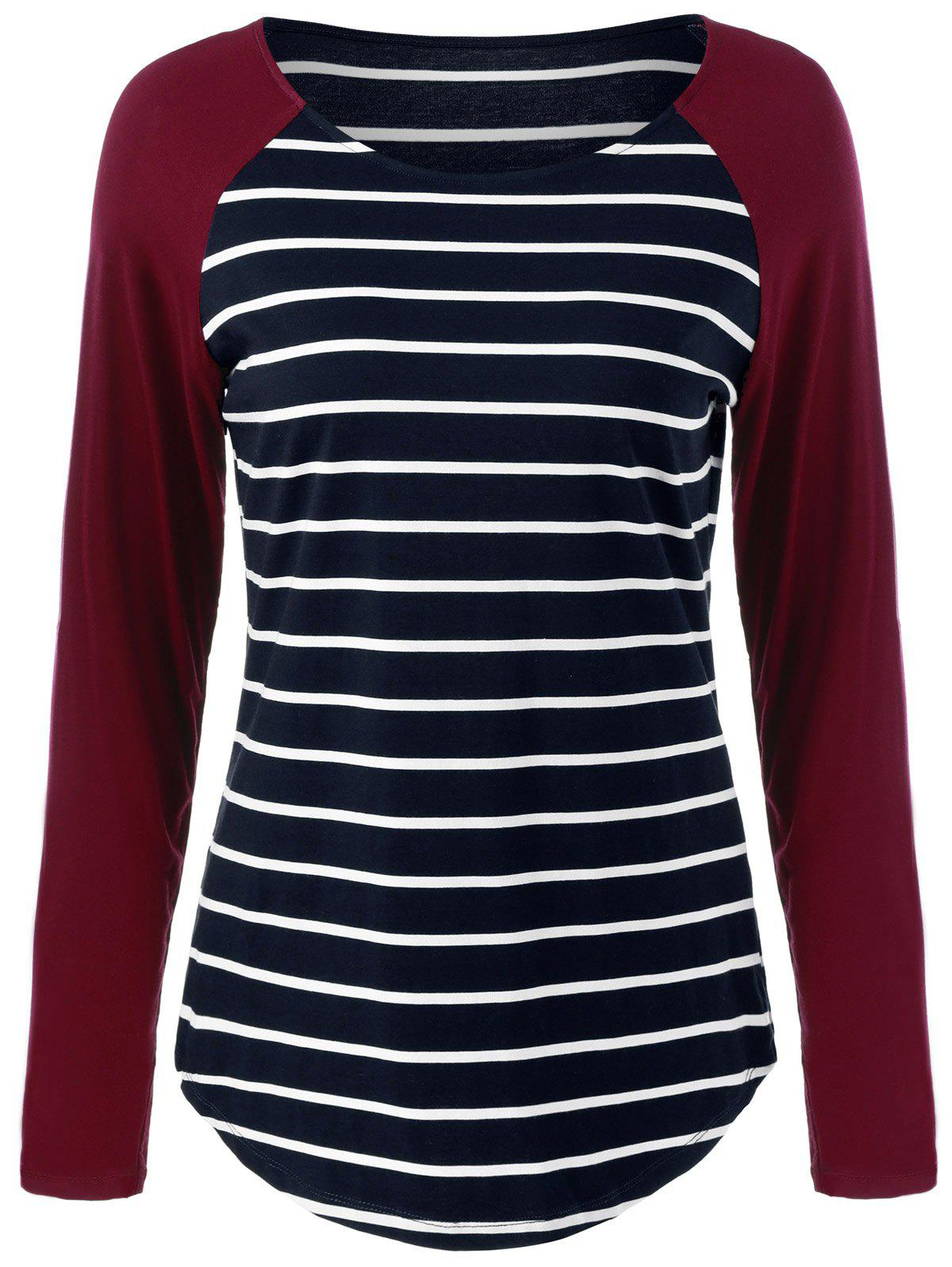 Raglan Sleeve Striped Comfy T-Shirt - STRIPE L