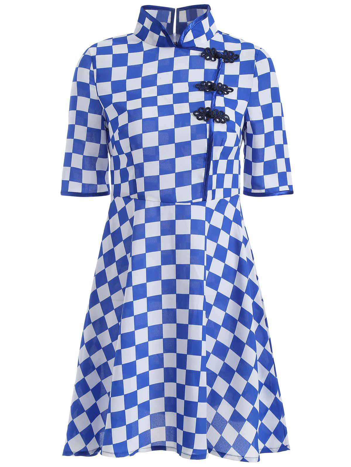 Gingham Fit and Flare Qipao Dress - BLUE XL