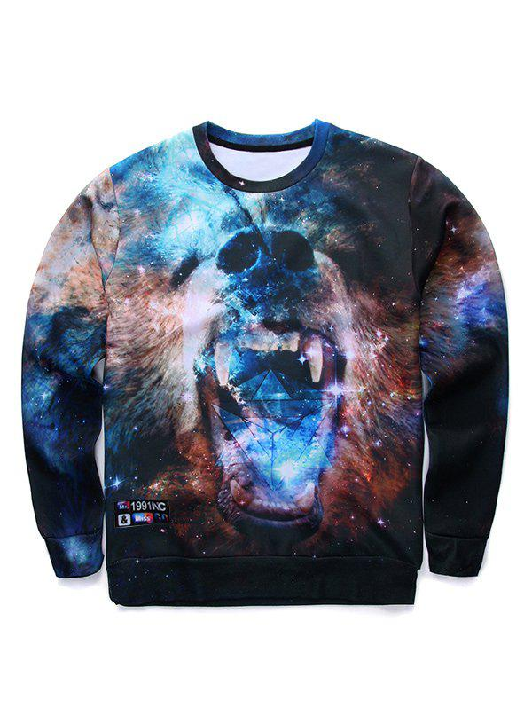 Round Neck Long Sleeve 3D Fierce Bear Starry Sky Print Sweatshirt - COLORMIX S