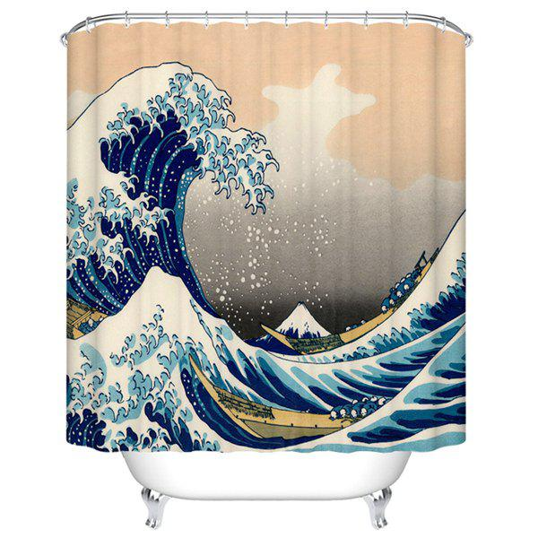 Waterproof Mouldproof Sea Wave Printed Shower Curtain - COLORMIX M