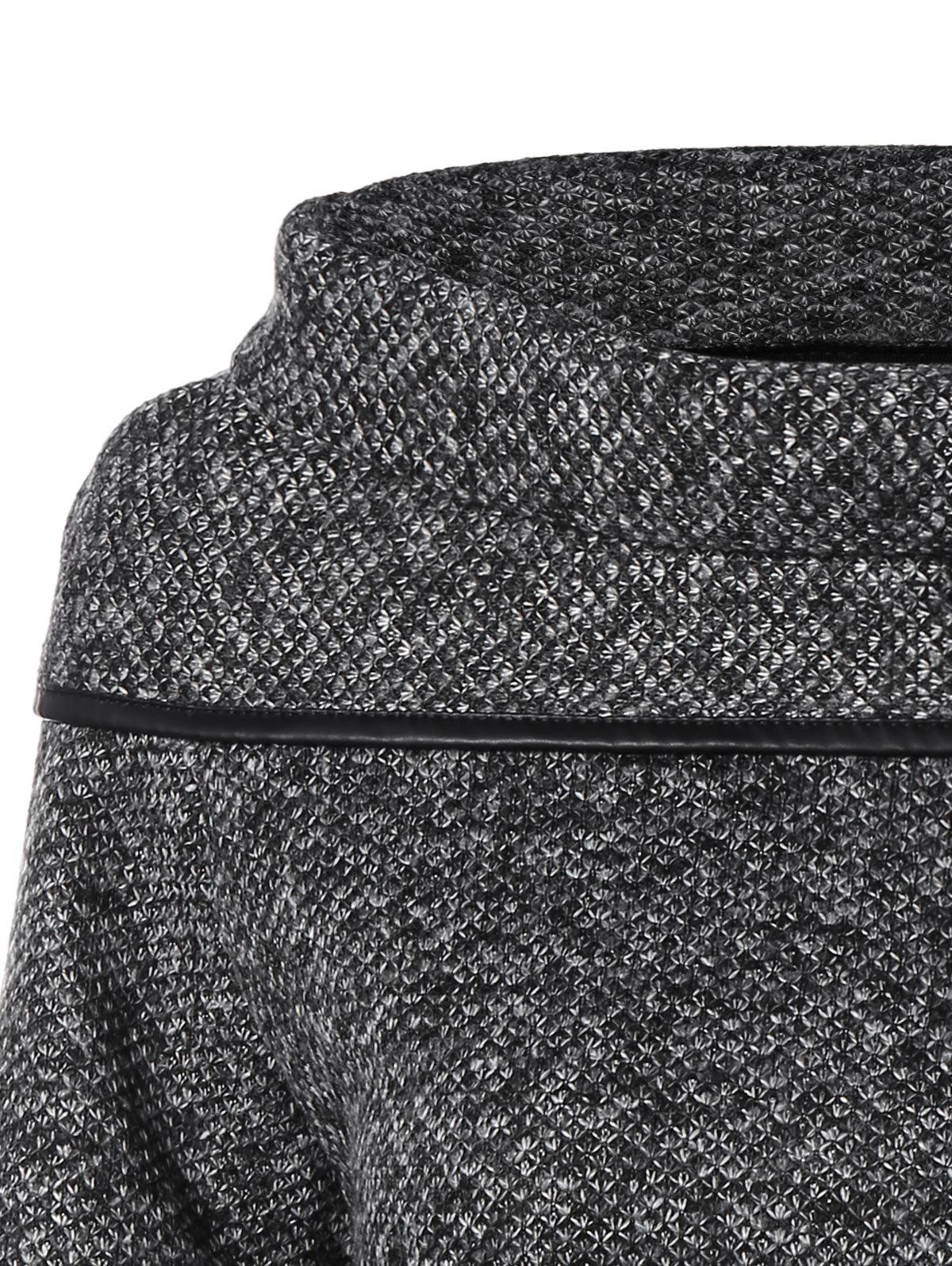 High Neck Asymmetrical Knitted Sweater - BLACK ONE SIZE