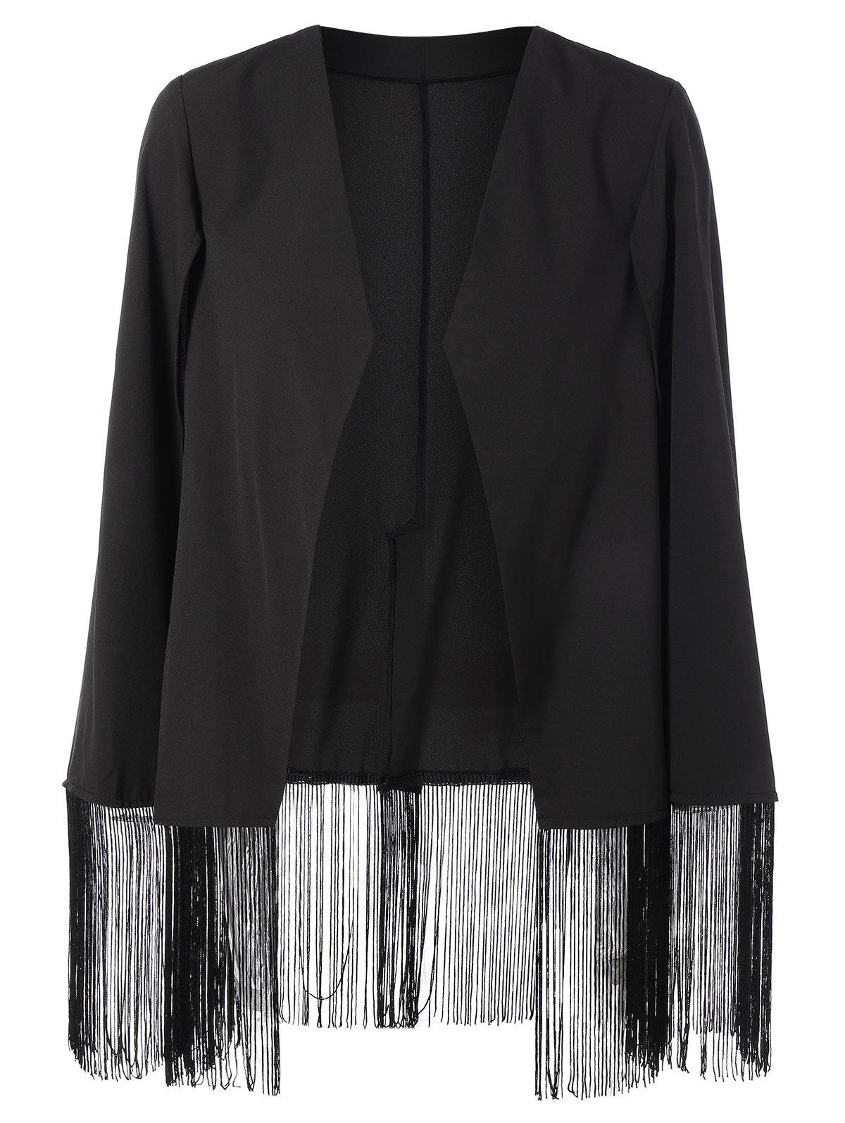 Asymmetric Fringed Cape Blazer - BLACK L