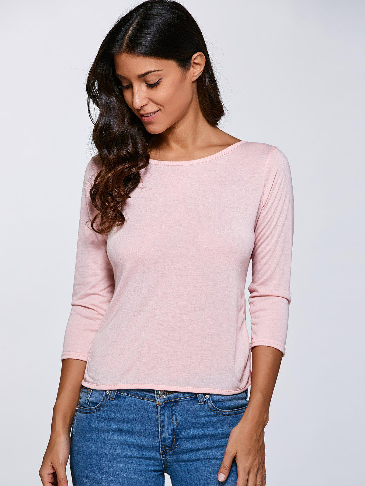 2018 open back bow long sleeve t shirt pink m in long for Long sleeve open shirt