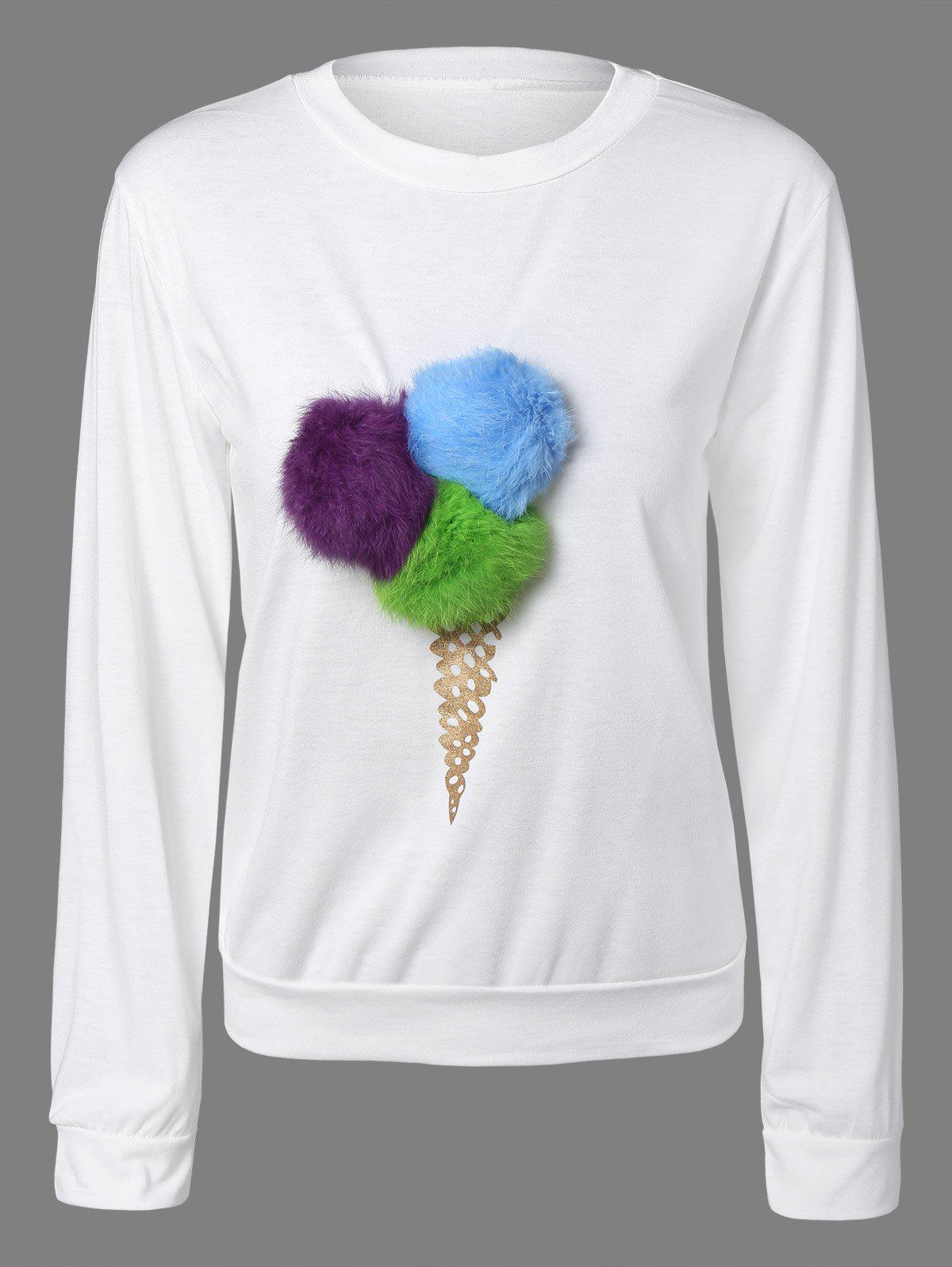 Buy Pompon Embellished Sweatshirt WHITE