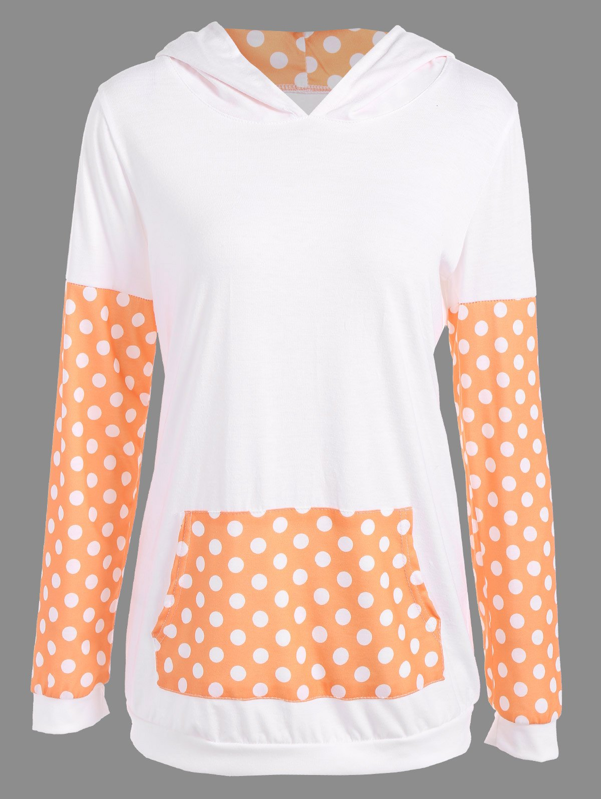 Polka Dot Imprimer Sweat à capuche - Orange L