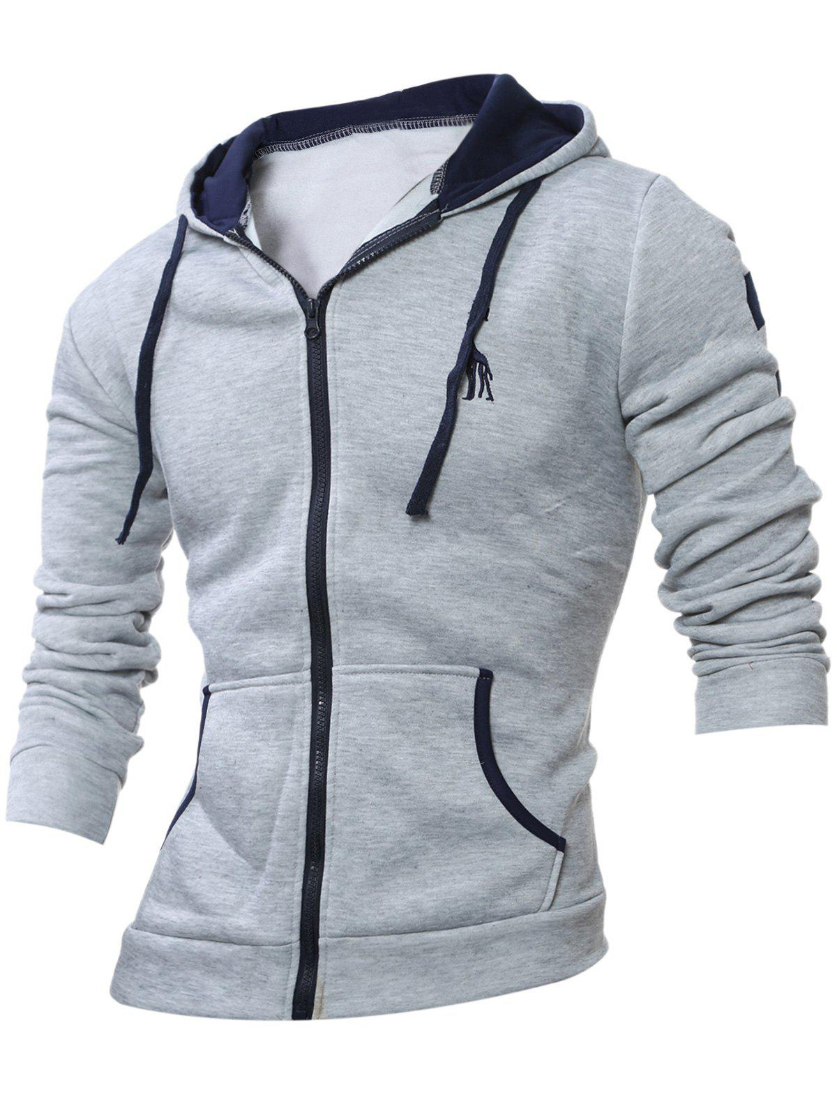 Embroidery Zippered Long Sleeve Hoodie - LIGHT GRAY 2XL