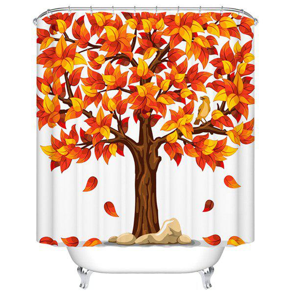 Waterproof Mouldproof Yellow Leaves Printed Shower Curtain waterproof mouldproof love birds printed shower curtain