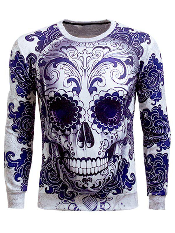 Skull 3D Printed Long Sleeve Round Neck Sweatshirt round neck 3d panda printed long sleeve men s sweatshirt