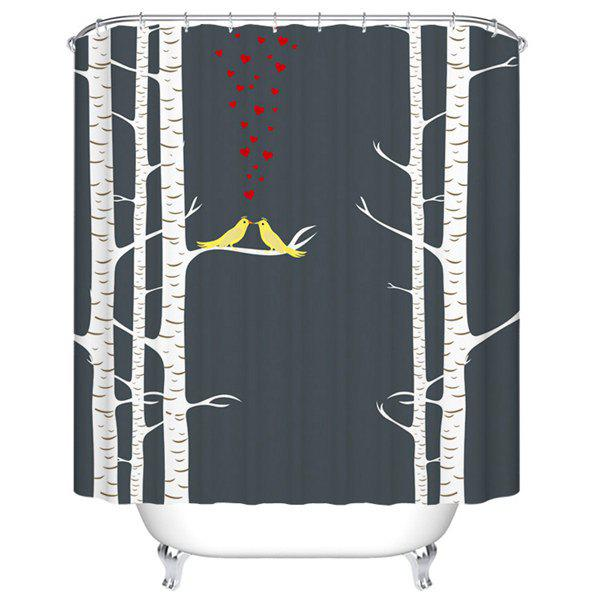 Waterproof Mouldproof Love Birds Printed Shower Curtain waterproof mouldproof love birds printed shower curtain