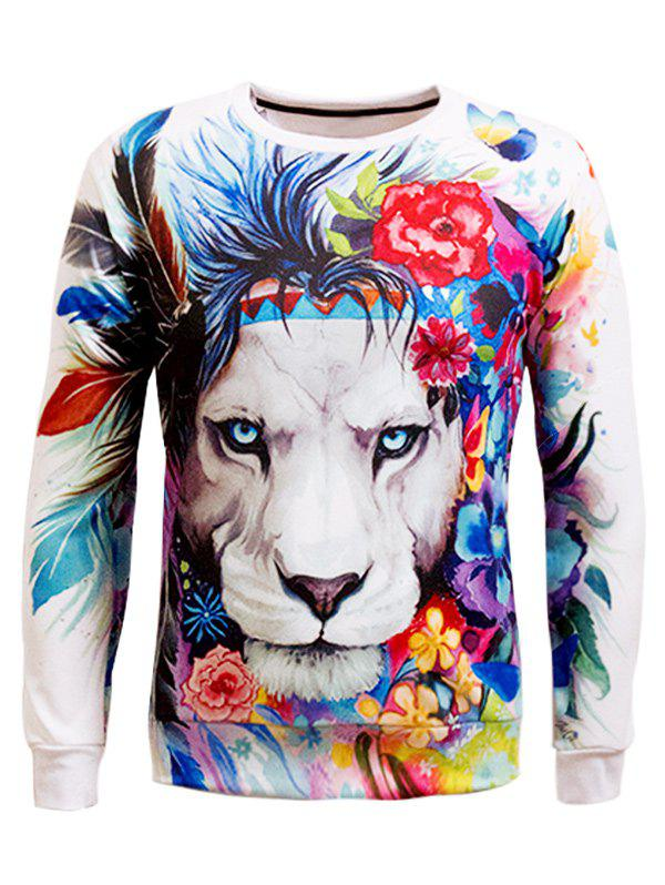 Animal 3D Print Long Sleeve Crew Neck Sweatshirt купить