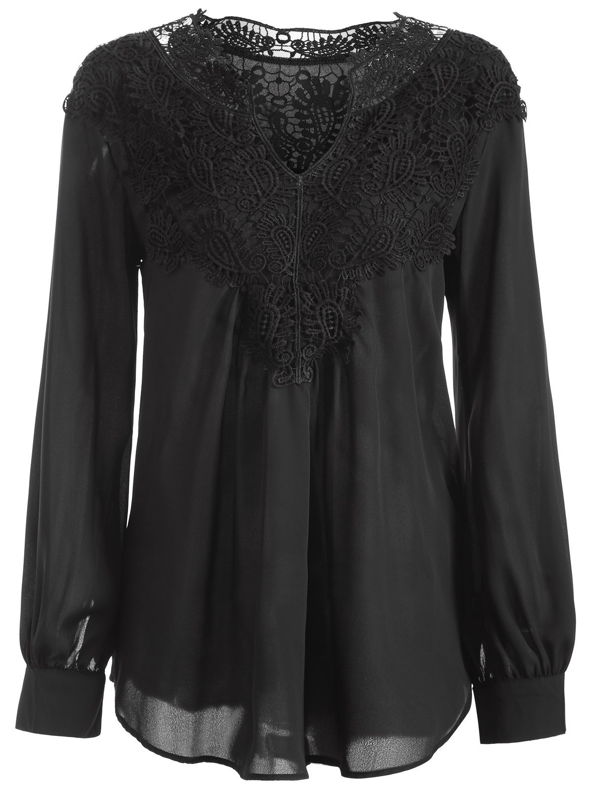 Long Sleeve Crochet Detail Lace Tunic Blouse - BLACK S