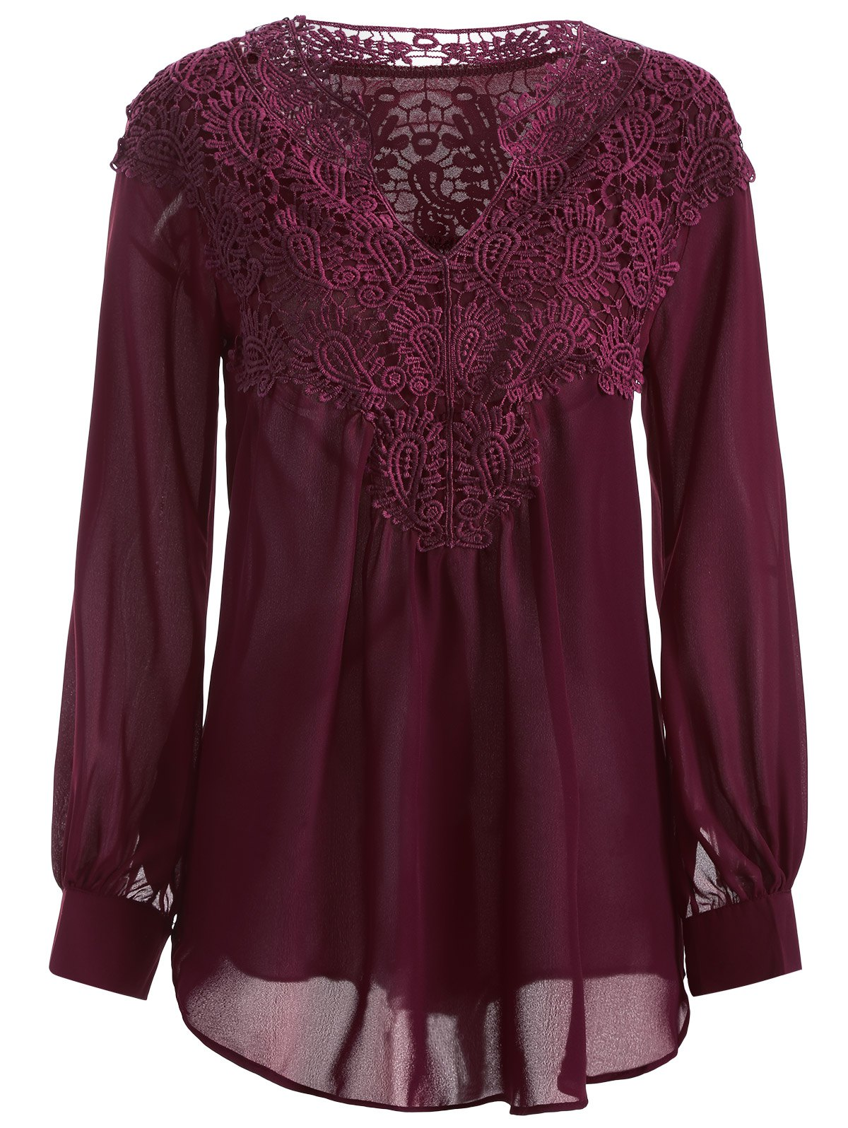 Long Sleeve Crochet Detail Lace Tunic Blouse, WINE RED, XL in ...