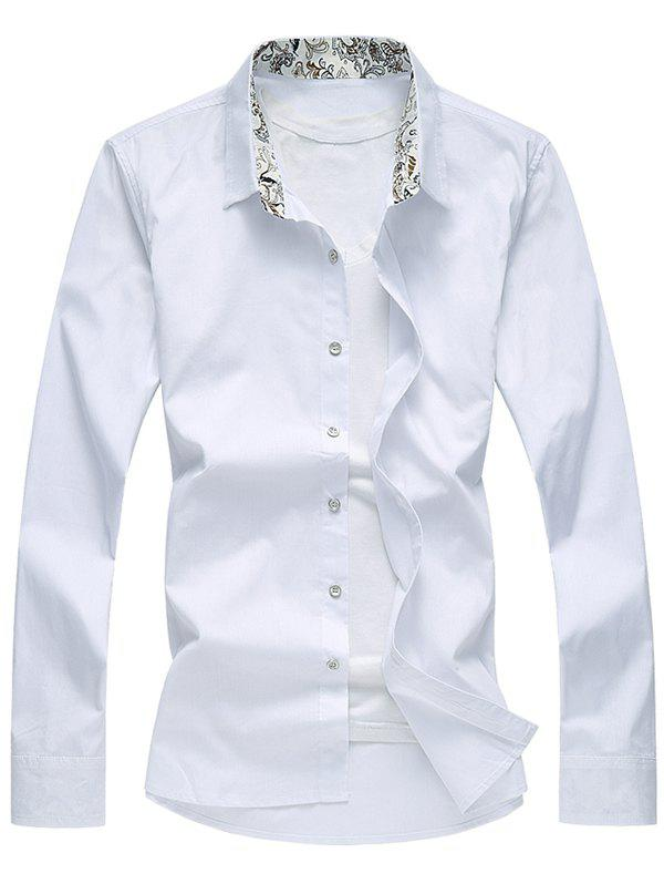 Floral Printed Collar Long Sleeve Shirt - WHITE 2XL