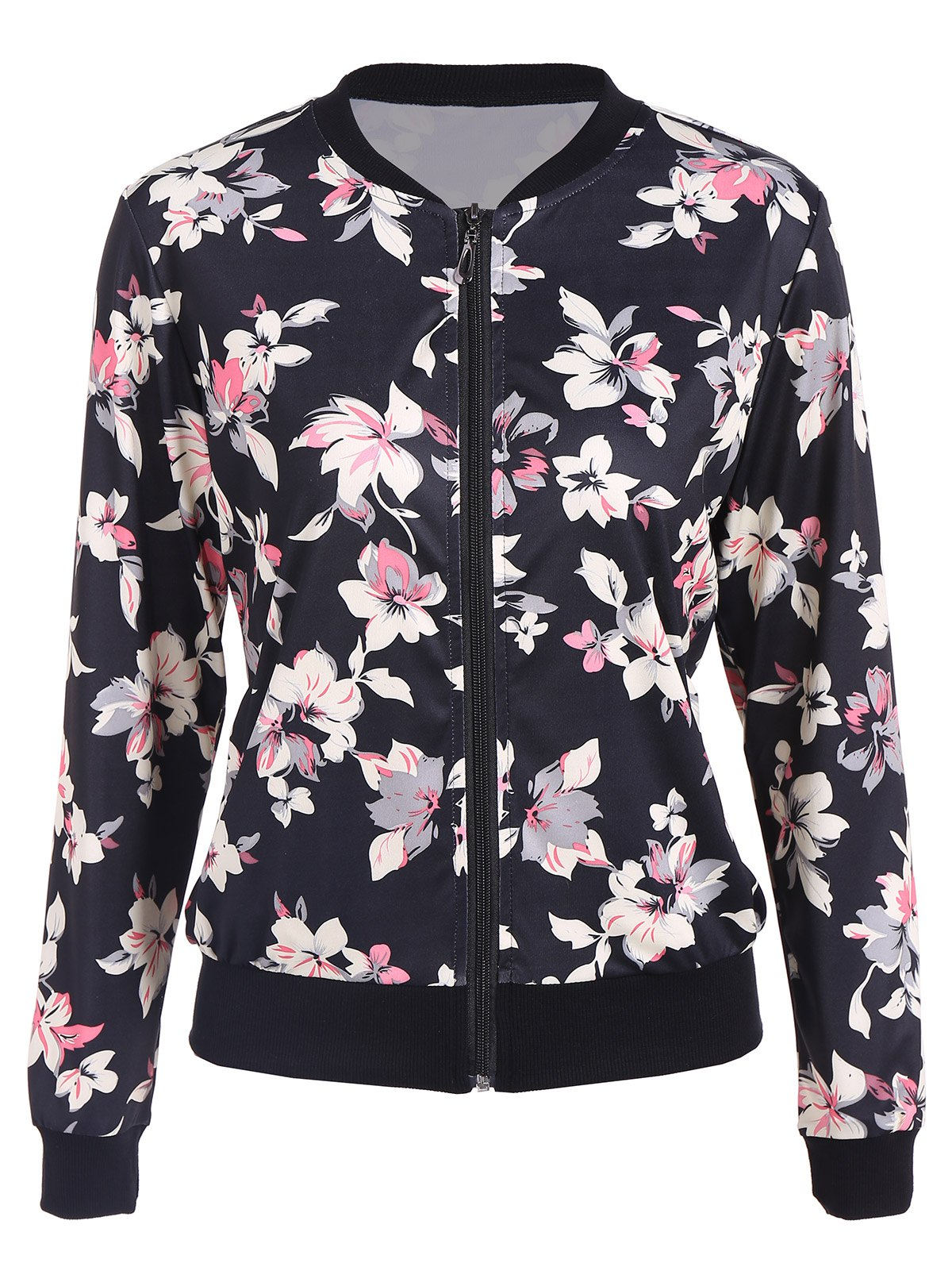Buy Floral Print Zip Bomber jacket BLACK