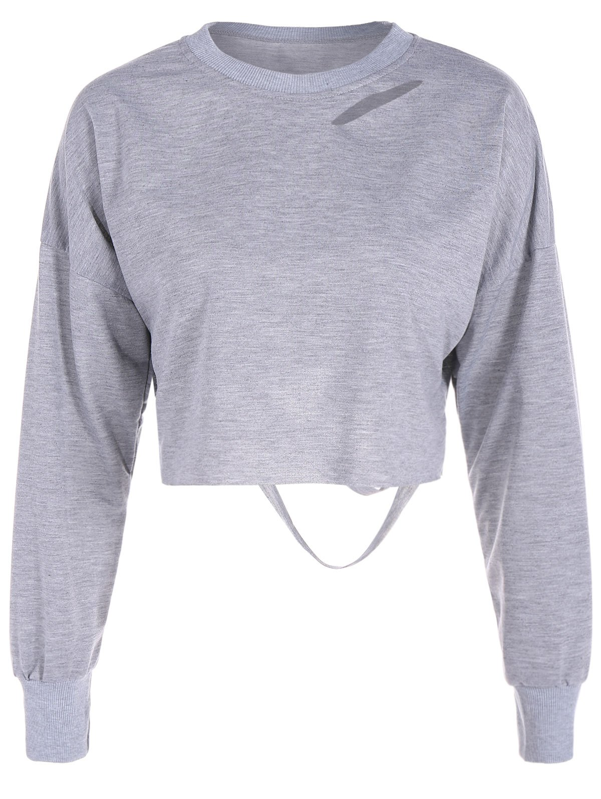 Hollow Out Long Sleeves Crop Top - GRAY XL