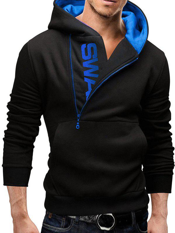IZZUMI Pocket Front Long Sleeve Side Half-Zip Up Hoodie - BLACK/BLUE M