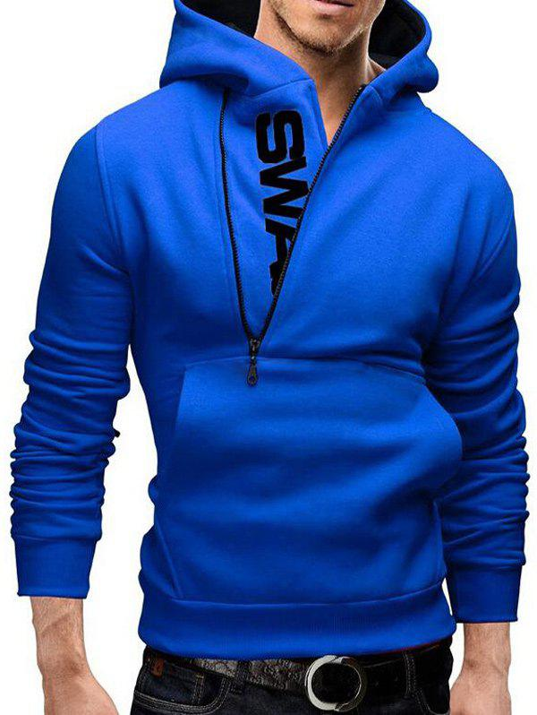 IZZUMI Pocket Front Long Sleeve Side Half-Zip Up Hoodie - BLUE M