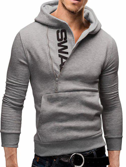 IZZUMI Pocket Front Long Sleeve Side Half-Zip Up Hoodie - LIGHT GRAY L