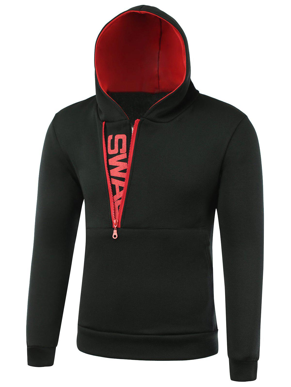 IZZUMI Pocket Front Long Sleeve Side Half-Zip Up Hoodie - RED / BLACK 2XL