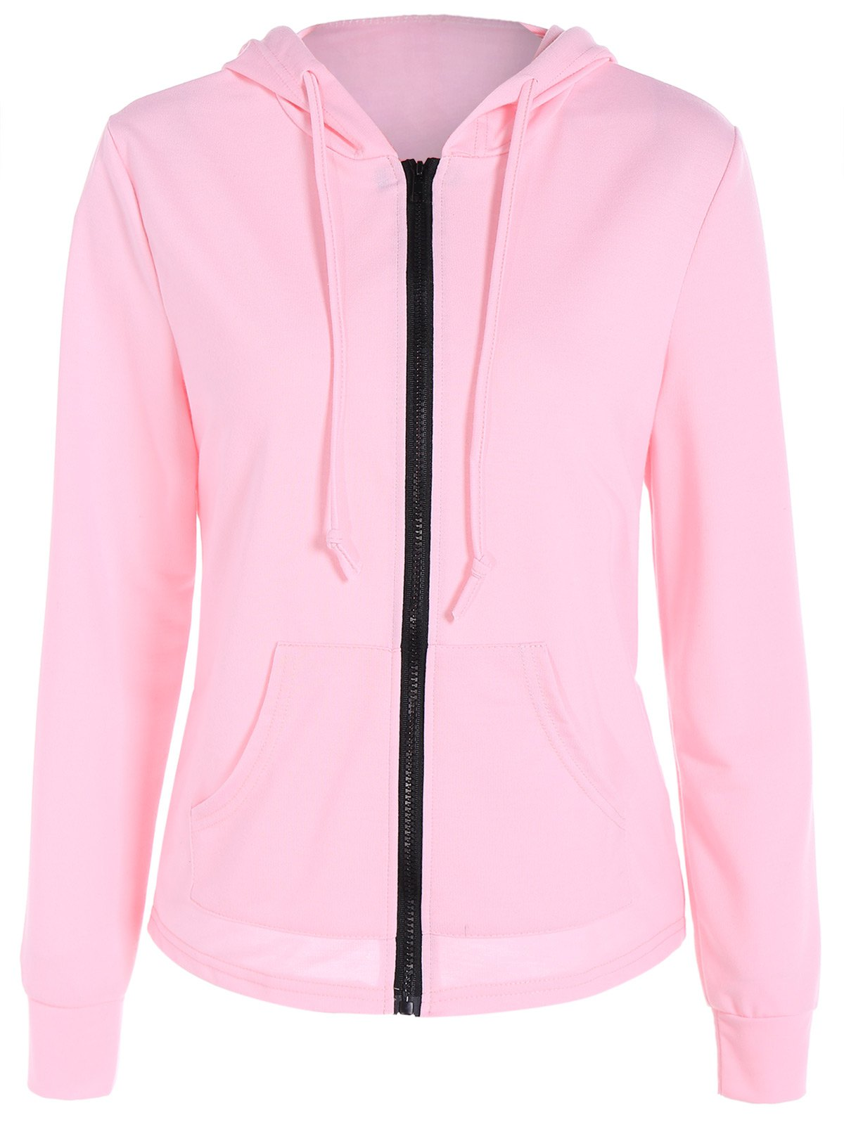Zipper Up Pocket design Hoodie - Rose XL