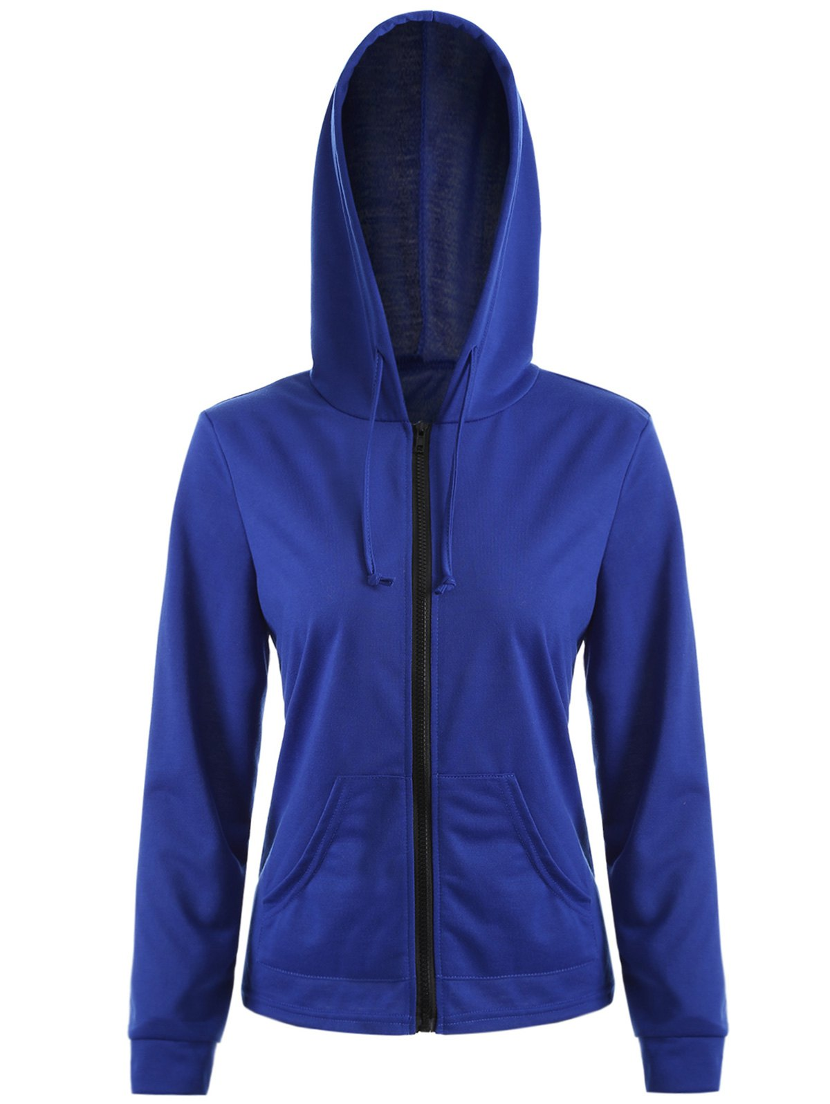 Zipper Up Pocket design Hoodie - Bleu L