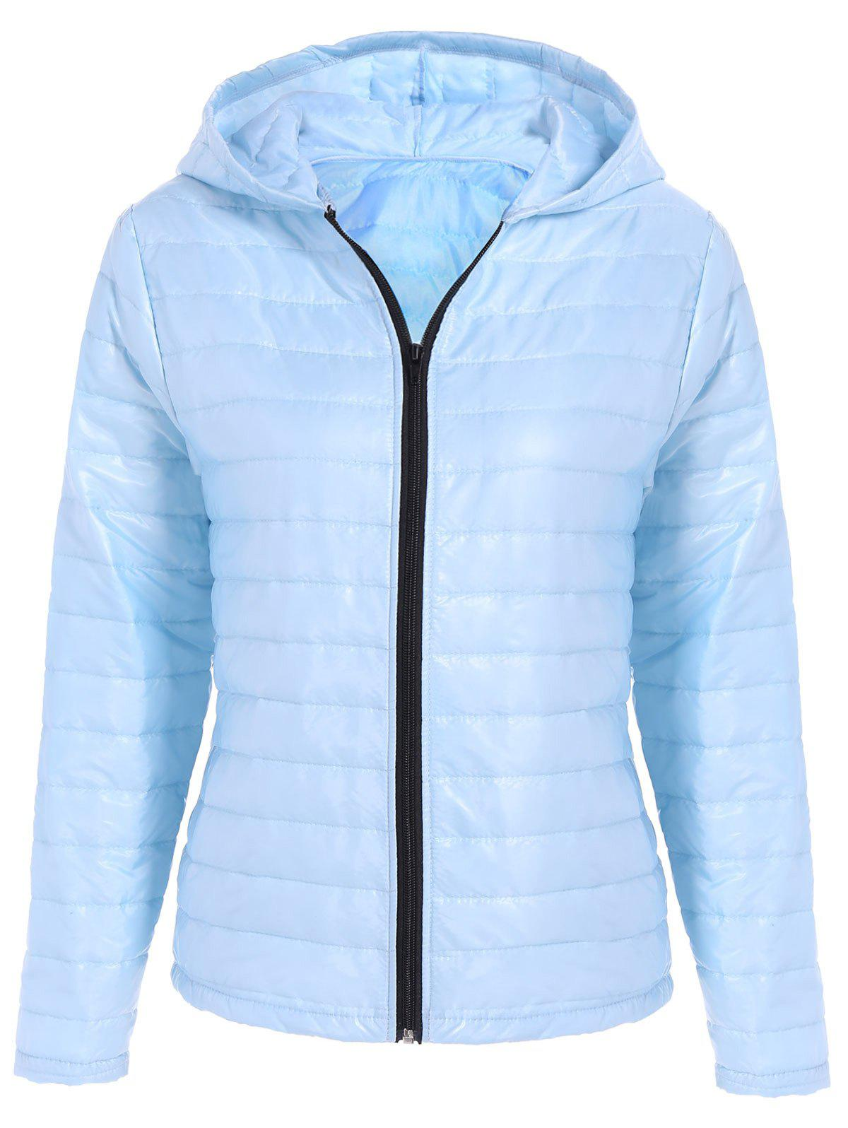 Quilted Winter Jacket with Hood - LIGHT BLUE S