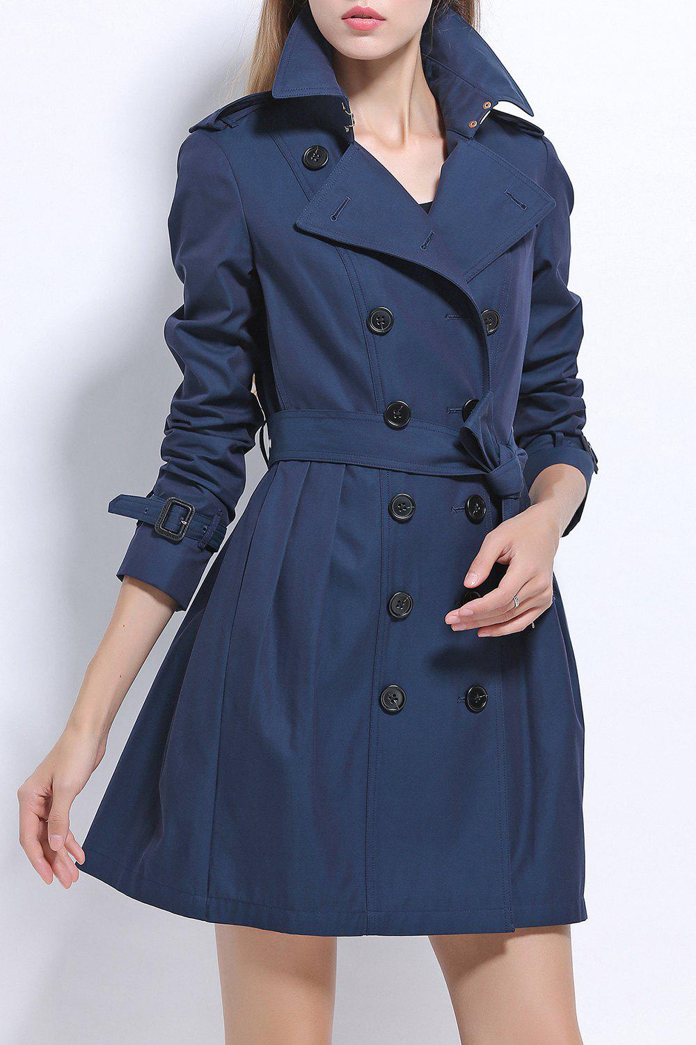 Cotton Skirted Trench Coat - SAPPHIRE BLUE S