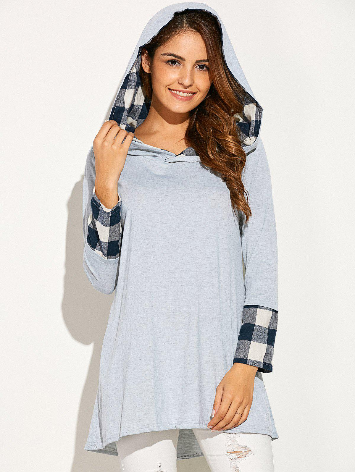 Plaid Patchwork Asymmetric Hoodie - Gris clair XL