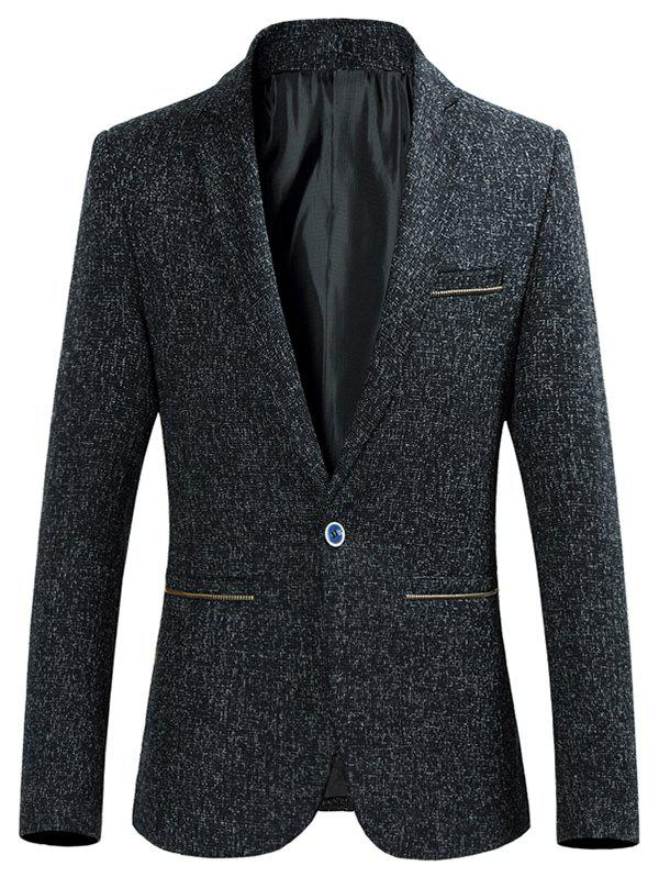 Col à revers Zip Pocket Heather Blazer - Noir M
