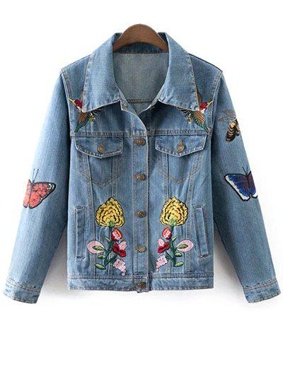 Floral Butterfly Embroidered Denim Jacket - DENIM BLUE L