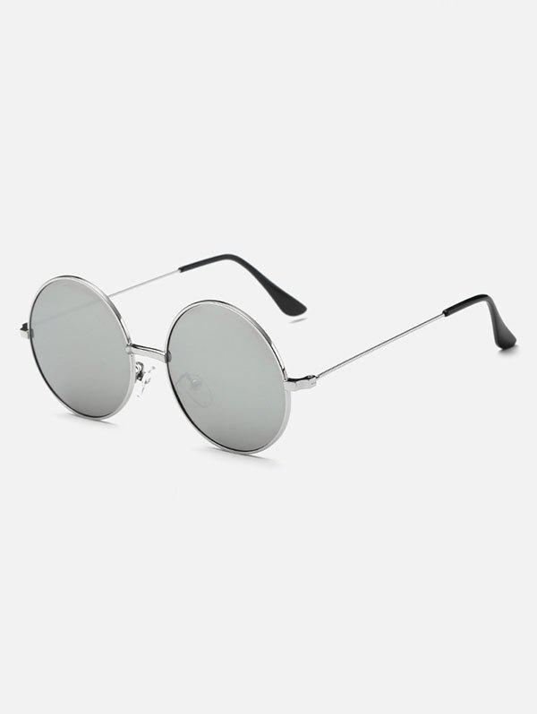 Retro Slim Leg Metal Round Mirror Sunglasses - SILVER