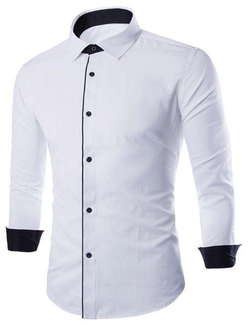 Slimming Color Block Button Design Long Sleeve Shirt - WHITE 3XL
