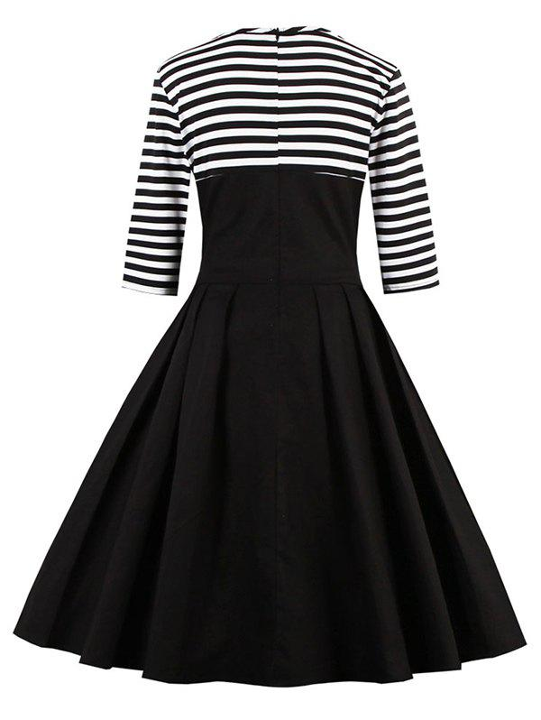 Midi Striped Formal Skater Cocktail Dress - BLACK L