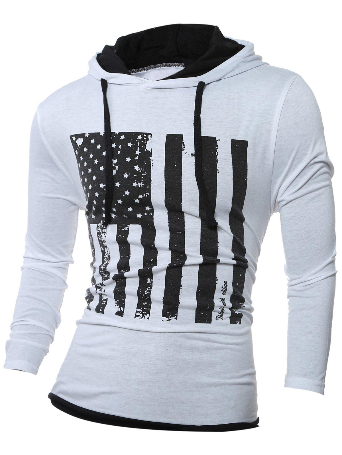 Color Block Stars and Stripes Pattern Long Sleeve Hoodie - WHITE M