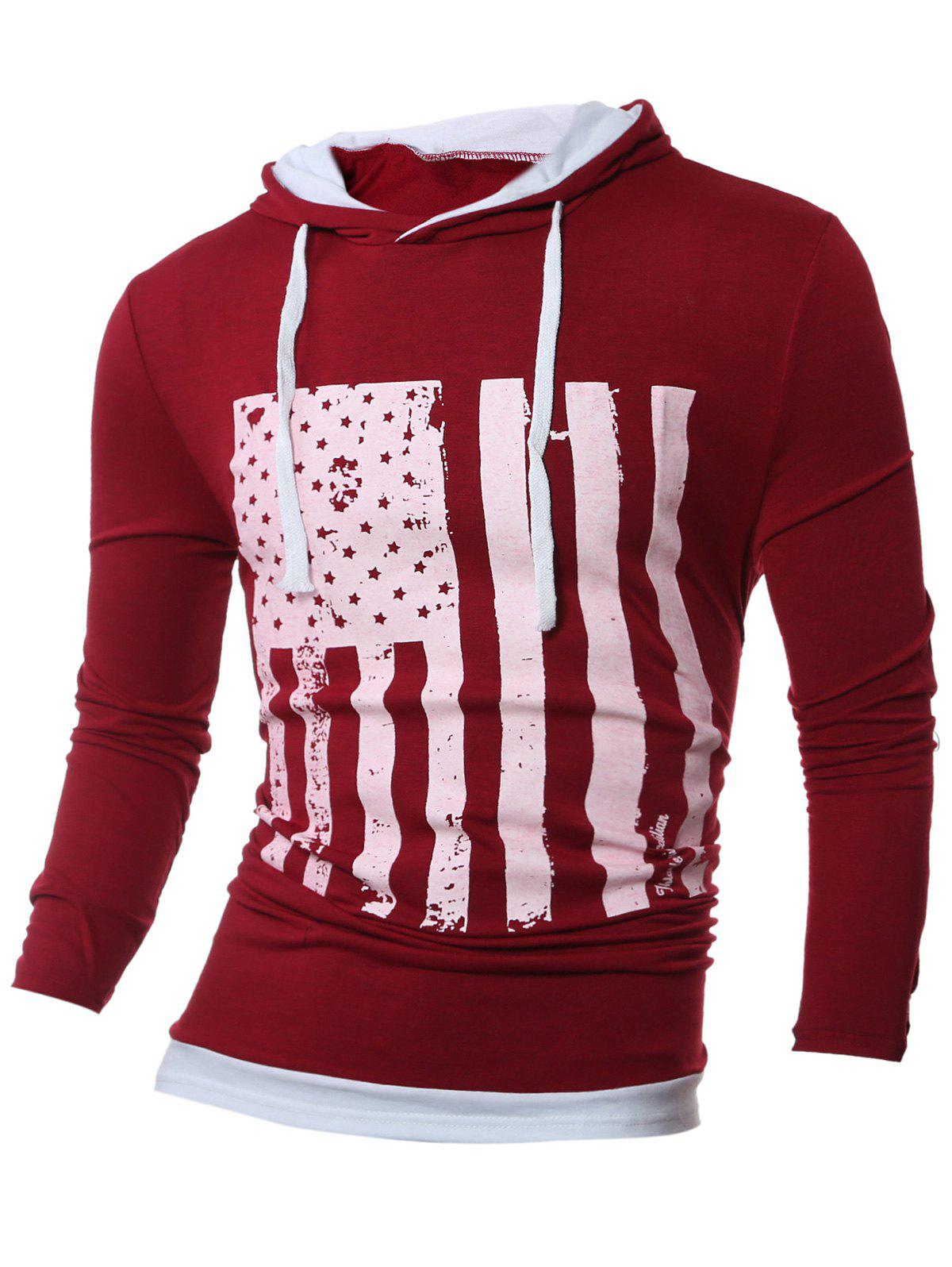 Color Block Stars and Stripes Pattern Long Sleeve Hoodie - RED L