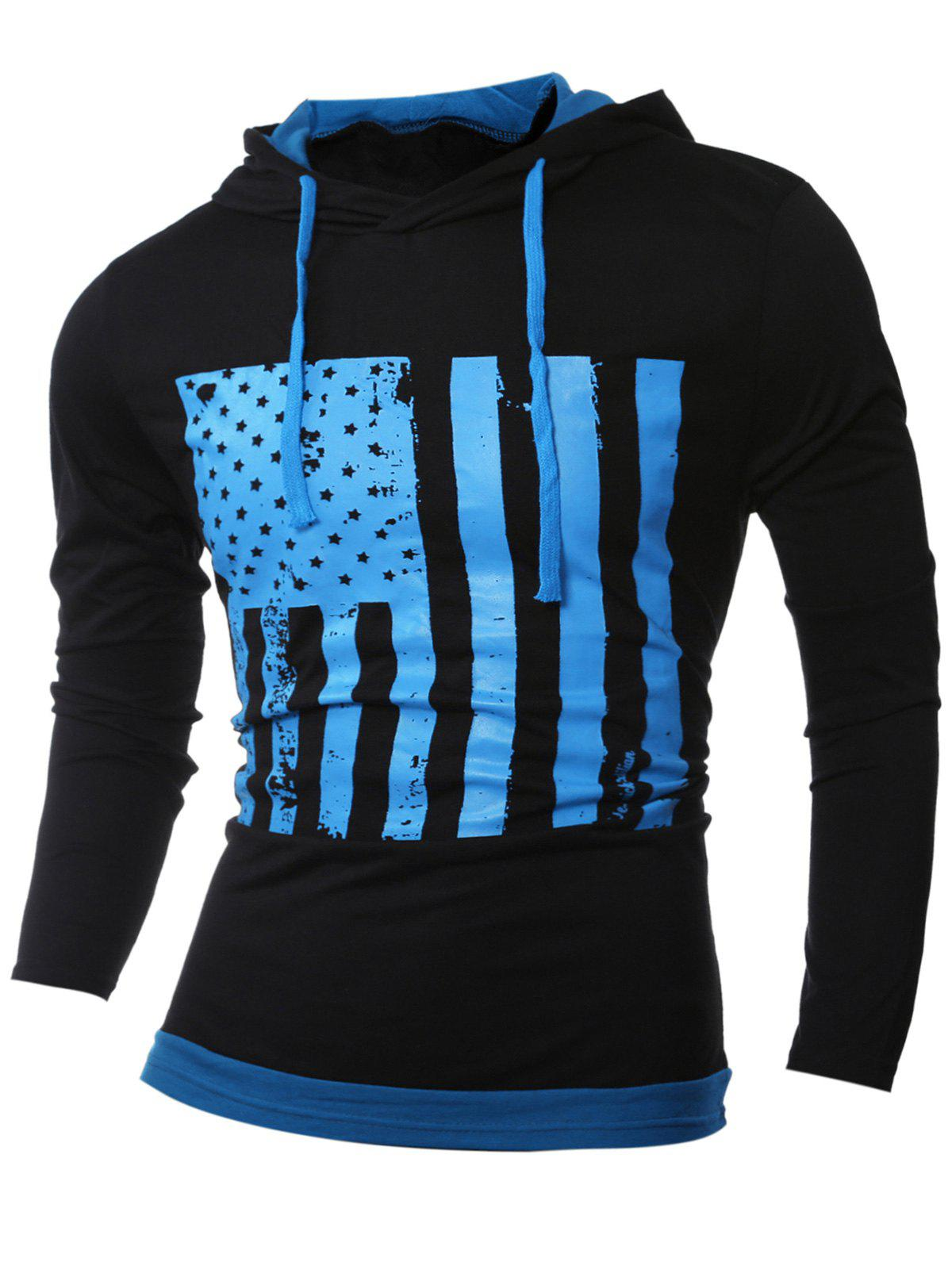 Color Block Stars and Stripes Pattern Long Sleeve Hoodie color block cut and sew hoodie